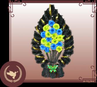 Корзина из искусственной хвои с цветами Р-17