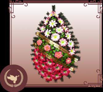 Венок из искусственной хвои с цветами Р-4